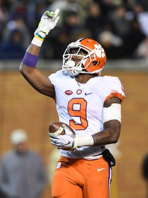 Clemson running back Wayne Gallman (9) scores during the fourth quarter at Wake Forest's BB&T Field on Saturday.