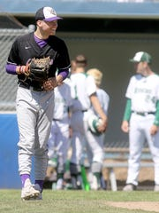 North Kitsap's Ryan Hecker smiles during the Vikings' 9-2 win against Port Angeles in Saturday's West Central District tournament at the Fairgrounds.