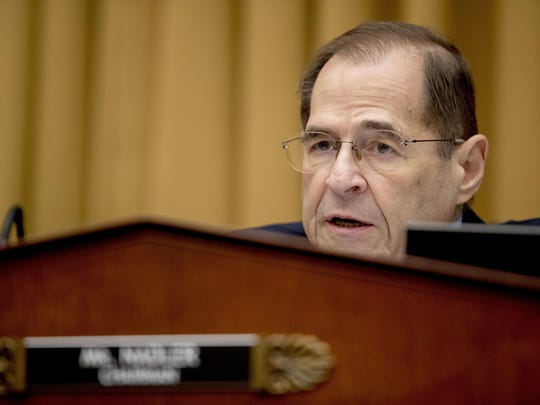 FILE - In this Friday, Feb. 8, 2019 file photo, Judiciary Committee Chairman Jerrold Nadler, D-N.Y., questions Acting Attorney General Matthew Whitaker as he appears before the House Judiciary Committee on Capitol Hill, in Washington. Emboldened by their new majority, Democrats are undertaking several broad new investigations into President Donald Trump and setting the stage for a post-Robert Mueller world. Nadler has helped lead the charge to pressure the Justice Department to release the full report by Mueller to the public. (AP Photo/Andrew Harnik, File)