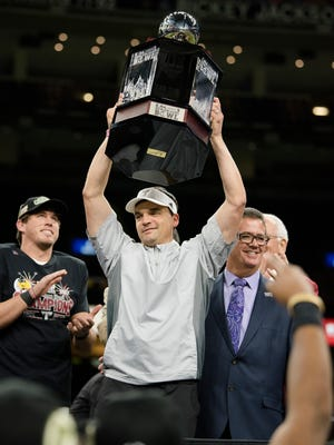 Troy head coach Neal Brown celebrates after the New Orleans Bowl between Troy and North Texas at Mercedes-Benz Superdome in New Orleans, La., on Saturday, Dec. 16, 2017. Troy defeated North Texas 50-30.
