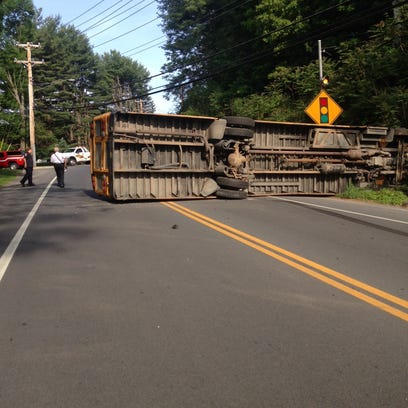 VIDEO: Overturned bus accident with injuries