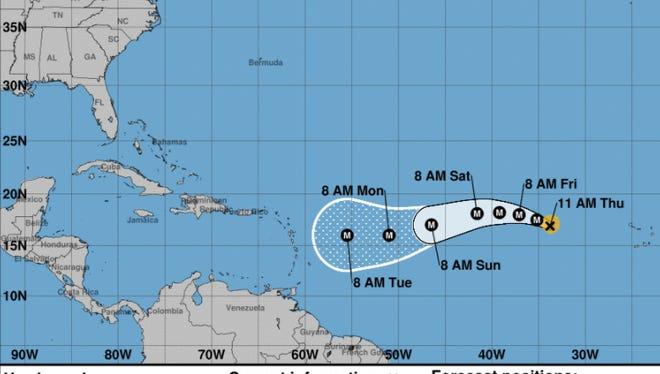 Forecast of Hurricane Irma on Thursday, Aug. 31, 2017.