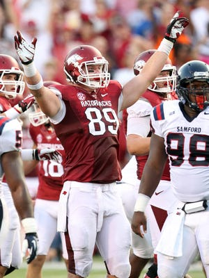 Defensive end Mitchell Loewen (89) and the rest of the Arkansas Razorbacks' defense have a tough act to follow in 2015 after the Hogs ranked 10th nationally in total defense a season ago.