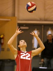 Crosshill Christian's Hannah Schanz sets the ball during their game with Eagles the Country Christian Cougars on Tuesday, Oct. 20, 2015, in Turner, Ore.