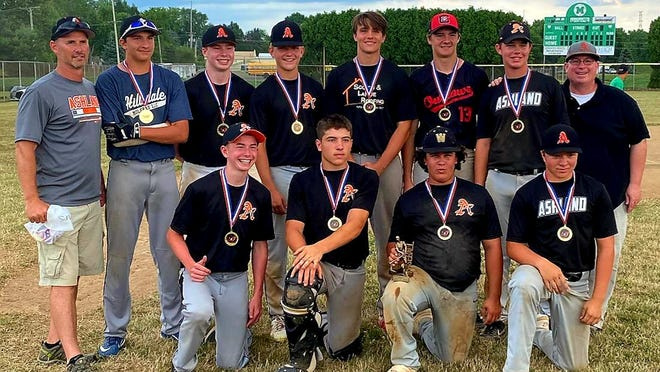 The Ashland 16U baseball recently won the 16U Division of the Duck Pond Classic in Castalia. Pictured in the back (from left to right): coach Tim Swaisgood, David Parker, Jack Swaisgood, Wyatt Mohrman, Mason Ringler, Owen Barker, Aidan Chandler and coach Dan Chandler. In the front (L to R): Max Swaisgood, Jon Metzger, Parker Grissinger and Ethan Truax. Not pictured: Grant Baker, Griffin Baker.