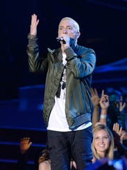 Recording artist Eminem performs onstage at the 2014