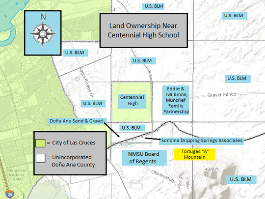 Centennial High is located inside the city of Las Cruces city limits, but the surrounding acreage is in Doña Ana County government's jurisdiction. The land ownership surrounding the school is a mix of private and public lands.