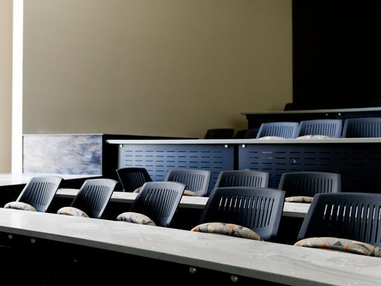 Seating inside the lecture hall at the newly revamped