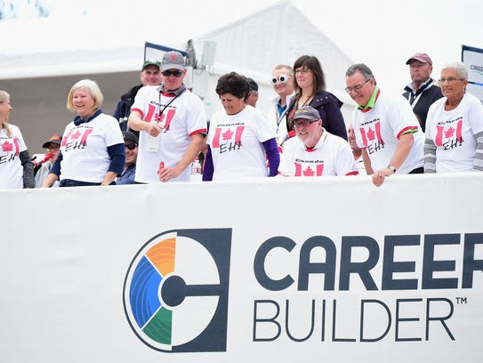 Canadian fans watch from the 17th hole during the CareerBuilder