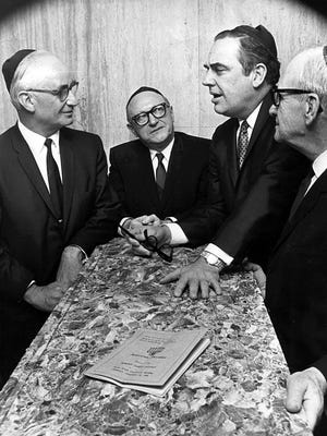January 31, 1966 - Progress in American-Israeli friendship was discussed at Baron-Hirsch Congregation on Jan. 31, 1966, by (from left) Shimon Yallon, consul general of Israel; Merlin Schatz, president of Memphis Zionist District; Gov. Frank Clement and Abe D. Waldauer, honorary chairman of the Zionist District's 30th annual friendship dinner.