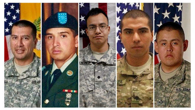 From left: U.S. Army Chief Warrant Officer 2 Edward Balli, U.S. Army Ranger and Specialist Ricardo Cerros, Jr., U.S. Army Sgt. Javier Sanchez, U.S. Army Specialist Vilmar Galarza Hernandez and U.S. Army Private First Class Conrado D. Javier.