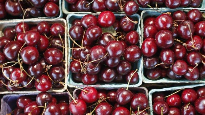 Local cherries at a farm stand.