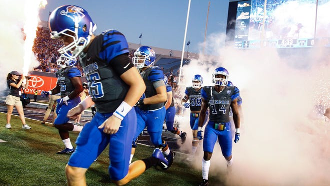 University of Memphis team takes the as they take on  Southern Illinois University during at the Liberty Bowl Memorial Stadium Saturday, September 23, 2017.