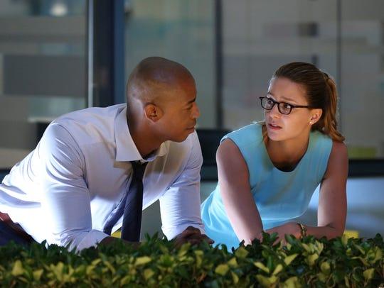 Kara Danvers (Melissa Benoist), aka Supergirl, right,