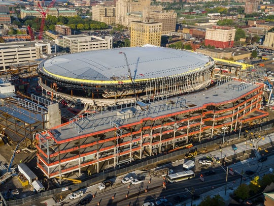 Little Caesars Arena construction, pictured in October 2016 in Detroit.