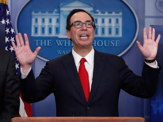 Treasury Secretary Steven Mnuchin and National Economic Director Gary Cohn unveiled the White House tax priorities at a briefing April 26, 2017.