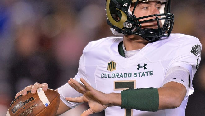 CSU quarterback Nick Stevens, shown in a Nov. 26 game at San Diego State, threw for 1,859 yards and 19 touchdowns in the final seven games of the 2016 season. Without another quarterback battle to fight heading into his senior year, Stevens believes he can take his game to a higher level this fall.