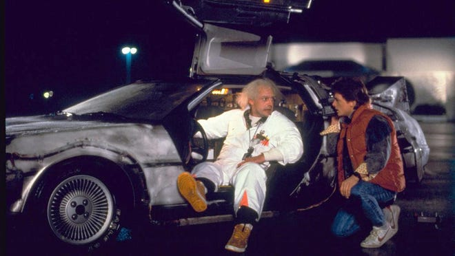 """""""Back to the Future,"""" starring Christopher Lloyd, left, and Michael J. Fox, opened July 3, 1985."""