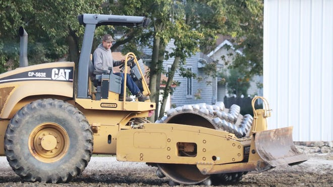 A piece of property across from Prairie Central Co-Op in Fairbury gets worked on Thursday morning.