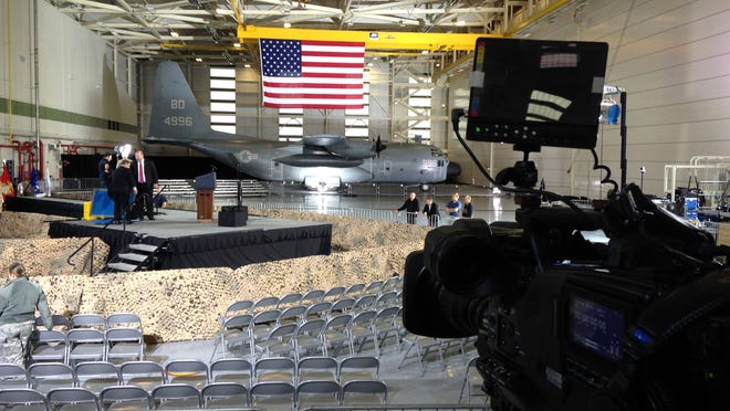 The scene is set at Joint Base McGuire-Dix-Lakehurst for President Barack Obama's visit later Monday, December 15, 2014. WRIGHTSTOWN, NJ OBAMAMDL1215A WITH VIDEO ASB 1216 OBAMA JOINT BASE VISIT STAFF PHOTO BY THOMAS P. COSTELLO