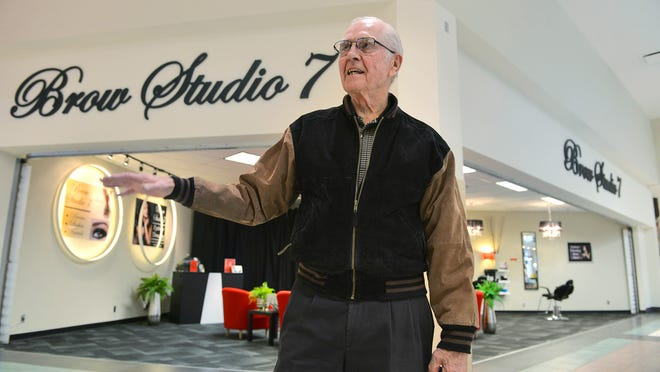 Dave Ufford, 79, talks Nov. 13 about his memories of running two different shoe stores in the Crossroads Center mall over the period spanning 1966-2002. His former Hush Puppies store was where the current Brow Studio 7 store sits.