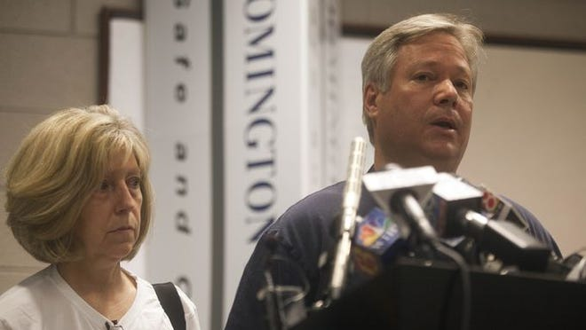 In this file photo, Robert Spierer, father of missing Indiana University student Lauren Spierer made a statement to the media at the Bloomington Police Department, Tuesday, June 7th, 2011. He was accompanied by his wife, Charlene.
