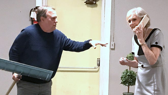 """Greg Fusare, left, and Tina Eyer rehearse a scene from Neil Simon's """"The Prisoner of Second Avenue"""" for an Elmira Little Theatre production."""
