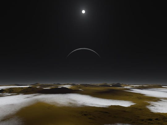 Artist's impression of how the surface of Pluto might