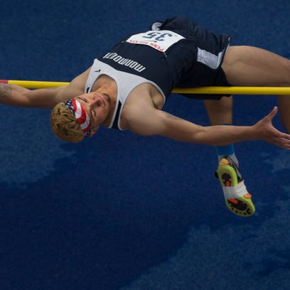 Monmouth senior Joey Marini, a Boonton alumna, competes in the Penn Relays high jump.