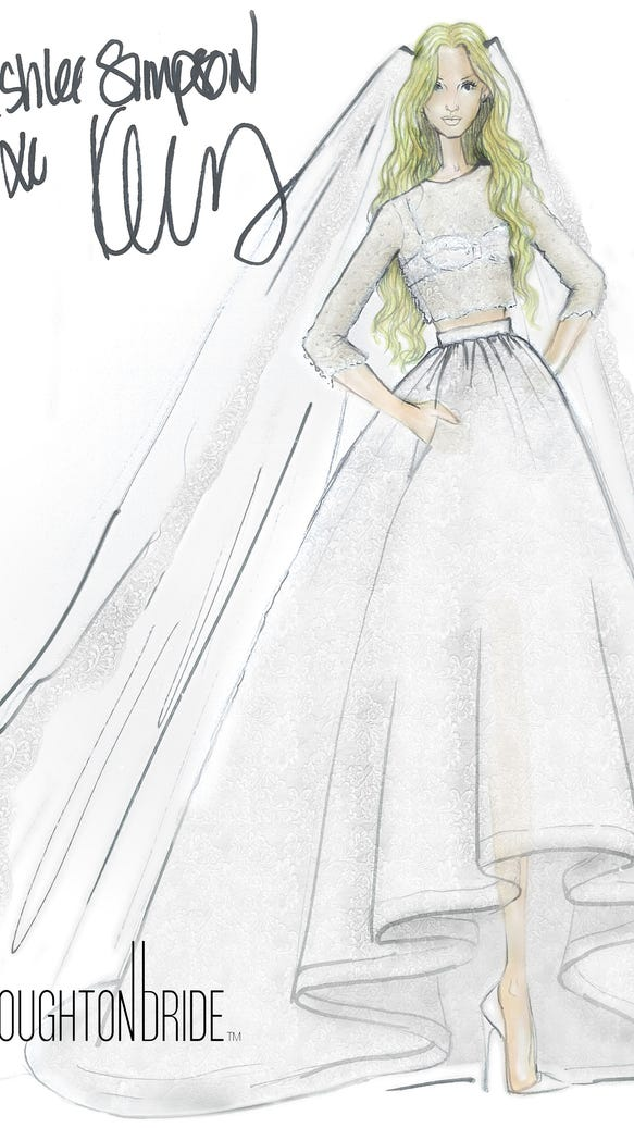 Ashlee Simpson - Wedding Gown Sketch - Macabeau and Aligote