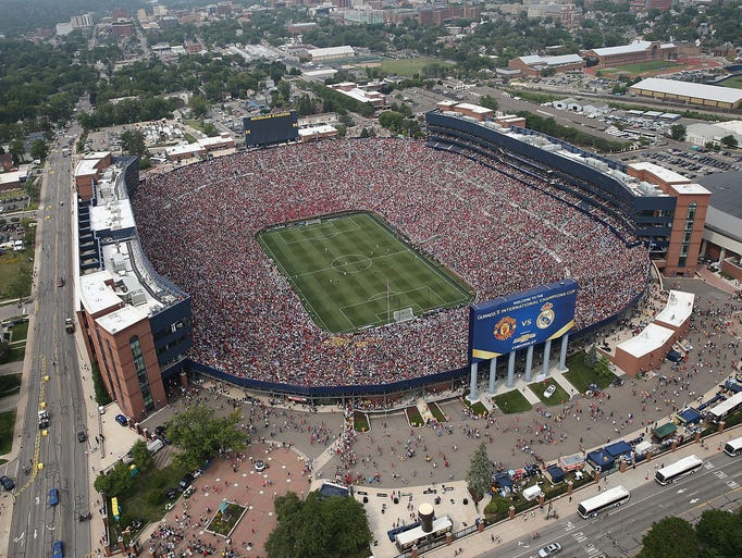 An aerial view of Michigan Stadium during the match.