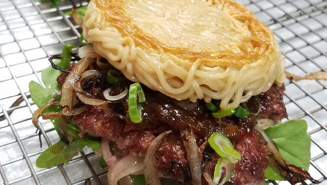 The ramen smashed onion burger is on the menu at Rev 2018, 7 p.m. to midnight May 5 at Indianapolis Motor Speedway. Get tickets at revindy.org