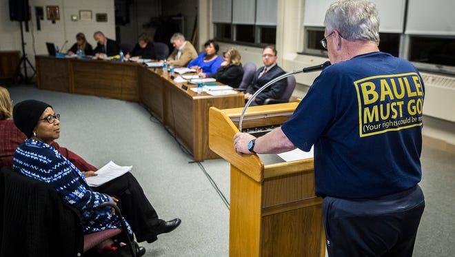 Retired principal Mike Ryan addresses the Muncie Community Schools' board of trustees on Jan. 10, 2017.