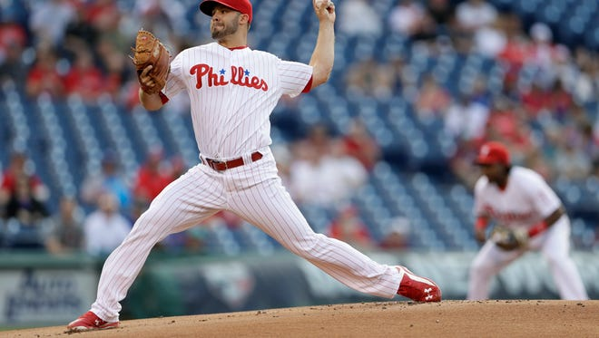 Philadelphia Phillies' Adam Morgan pitches during the first inning Friday against the Arizona Diamondbacks. Morgan didn't get out of the fifth inning.