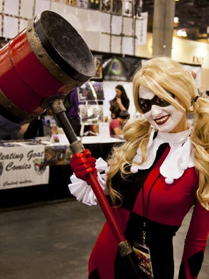 Aubrey Halliday dressed as Harley Quinn on the second day of the 2013 Phoenix Comicon at the Phoenix Convention Center.