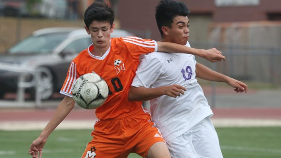 Mamaroneck defeated New Rochelle 1- 0 in boys soccer action at New Rochelle High School Oct. 5, 2017.