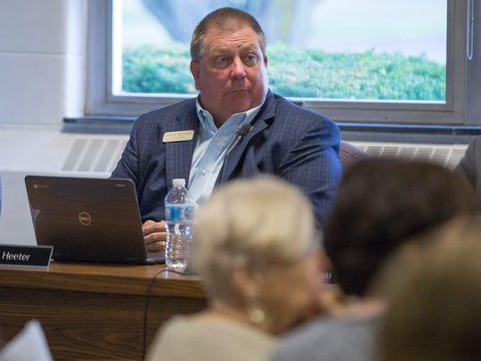 Dave Heeter listens to a speaker during a Muncie Community School Board meeting in this file photo. Heeter serves on the school board.