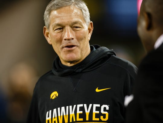 Iowa head coach Kirk Ferentz earned more than $5.5 million this past year, a personal high, after a 9-4 season and Outback Bowl victory.