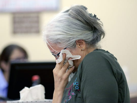 Tina Wright wipes away tears as she reads a letter about her son, Gabriel Gaeta, during his sentencing on Monday.