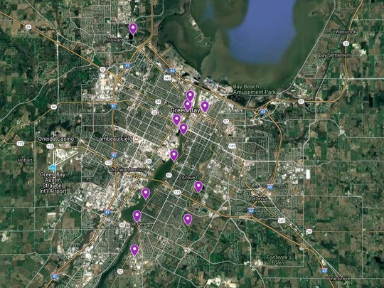 A Green Bay area map shows 12 of the 14 locations where Leadership Green Bay installed bicycle repair stations.
