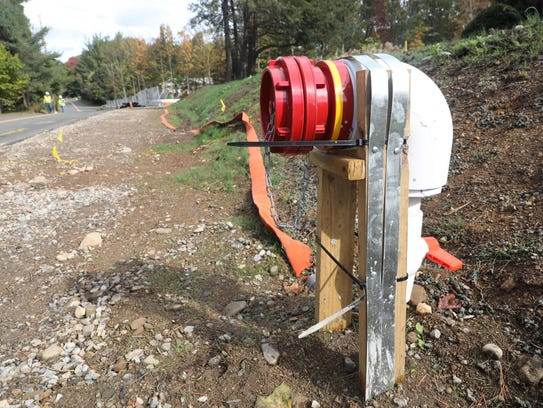 A temporary fire hydrant is located near the Ateres