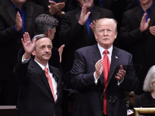 In this file photo, President Trump (right) and Robert Jeffress (left) are pictured participating in the Celebrate Freedom Rally at the John F. Kennedy Center for the Performing Arts in Washington. Jeffress, formerly of First Baptist Church in Wichita Falls, recently invited Fox News anchor Sean Hannity to speak to his current congregation, First Baptist Church in Dallas.