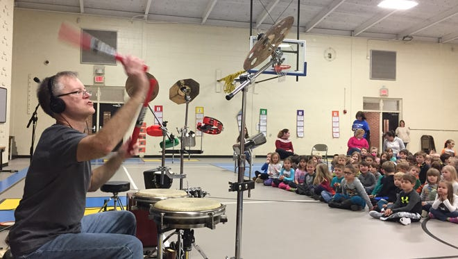 Zig Wajler performs for Lakeview Elementary students Fri., Jan. 15, 2016, in Wilson County.