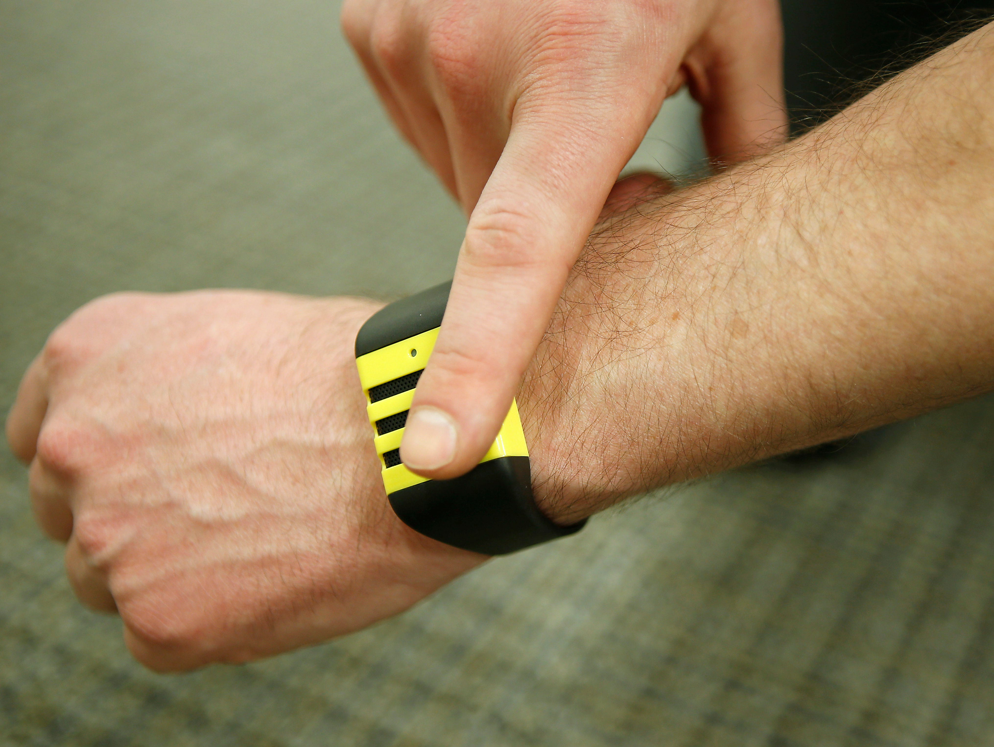 The Kapture Audio-recording Wristband Device is an example of a growing trend of wearable technology. Kapture CEO Mike Sarow shows off the wristband, which allows users to record the previous 60 seconds of audio at a time.