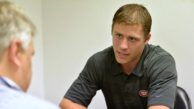 St. Cloud State University senior defender Ethan Prow speaks with the St. Cloud Times' Mick Hatten in a one-on-one interview Thursday at the 2015 NCHC Media Day at Target Center in Minneapolis.