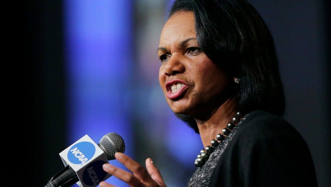 In this Jan. 14, 2016, file photo, former Secretary of State Condoleezza Rice speaks during a luncheon at the NCAA Convention in San Antonio. College basketball spent an entire season operating amid a federal corruption investigation that magnified long-simmering problems within the sport.