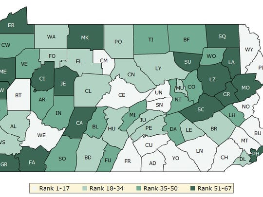 The counties in south-central and southeast Pennsylvania are considered among the healthiest in the state.
