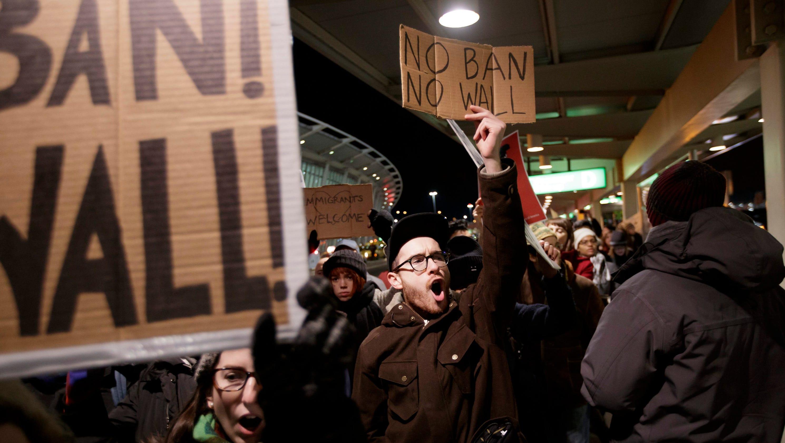 Immigration ban protests erupt at JFK International Airport