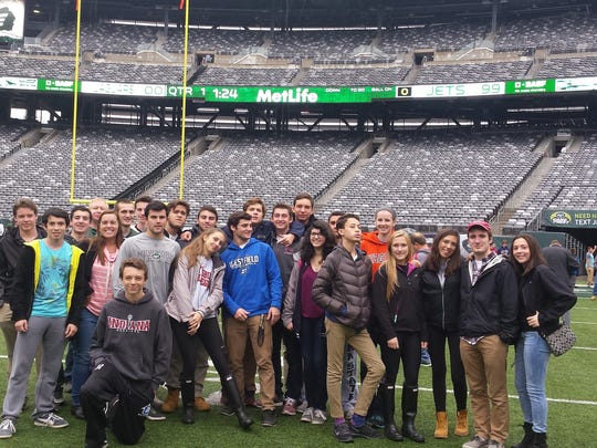 "Students who are enrolled in Westfield High School's Business Principles & Management course joined pupils from 20 high schools in New Jersey, New York and Pennsylvania at Sports Business Day on Nov. 10.  Held at MetLife Stadium, the New York Jets hosted the event and arranged for discussions on different topics ranging from education & career paths to sales, marketing and sponsorships. Rounding out the field trip was a tour of all parts of the stadium – press box, locker room, loading docks and suites.  ""It was an educational, fun and career learning experience for my class,"" stated Westfield High School teacher Denise DeNicola."