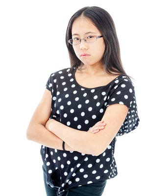 Girl with folded arms showing displeasure